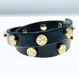 Tory Burch double wrap leather logo bracelet